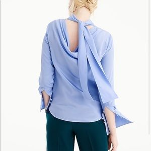 J.Crew Tall Reversible-Bow Silk Top